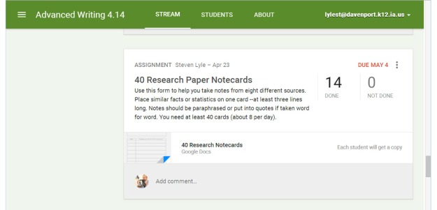 ClassroomGoogle.com allows students to get their assignments and return them to you as ePaper.
